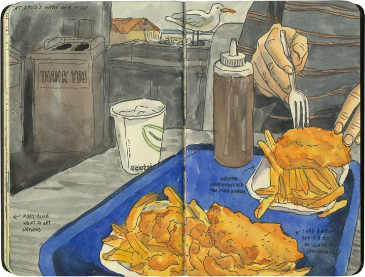 The Spud fish & chips sketch by Chandler O'Leary