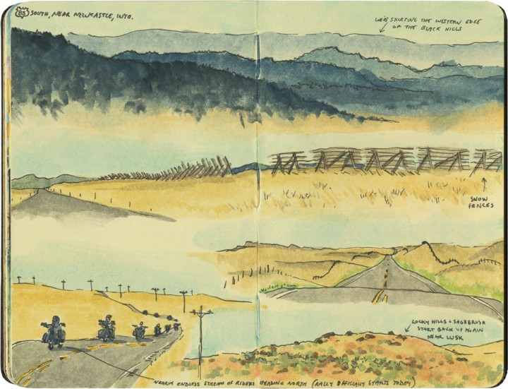 Wyoming road sketches by Chandler O'Leary