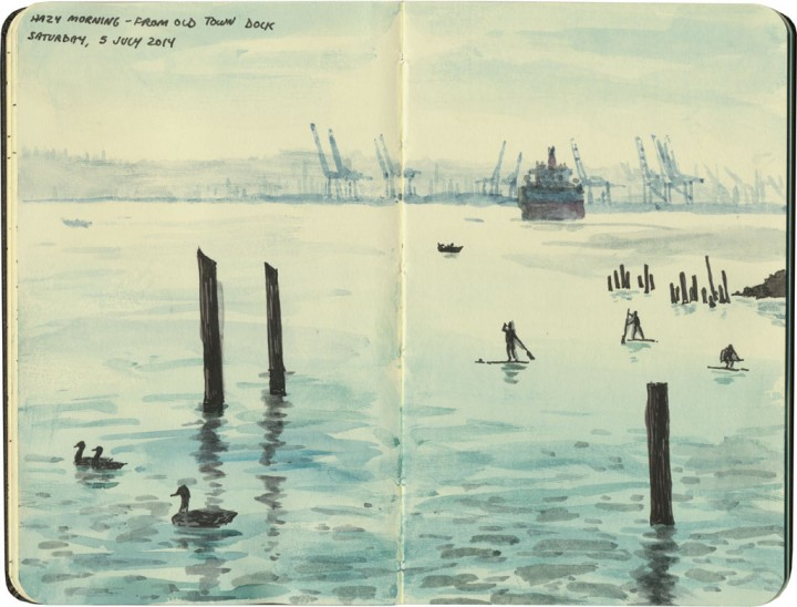 Commencement Bay sketch by Chandler O'Leary