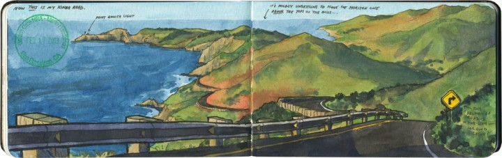 Marin Headlands sketch by Chandler O'Leary