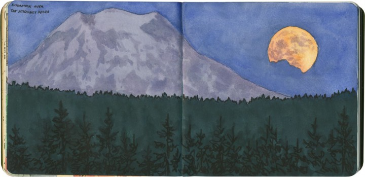 Mt. Rainier and supermoon sketch by Chandler O'Leary