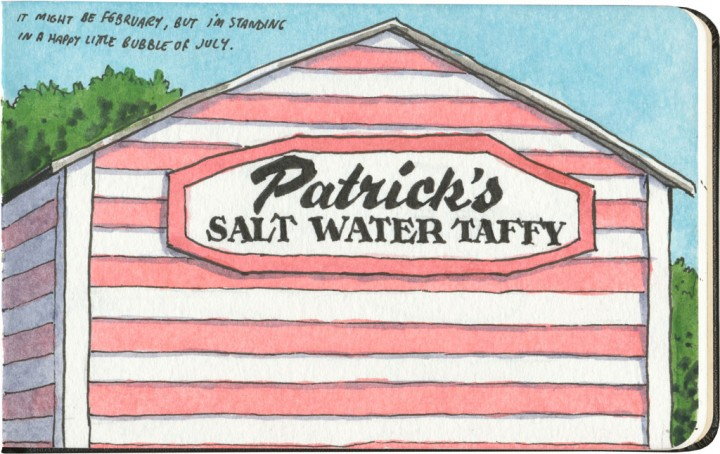 Salt water taffy sketch by Chandler O'Leary