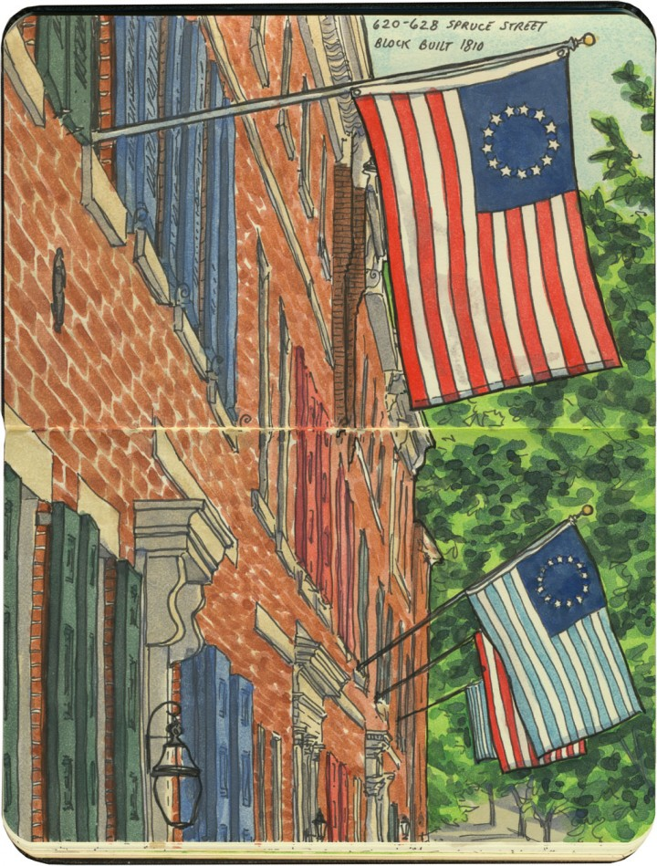4th of July in Philadelphia sketch by Chandler O'Leary