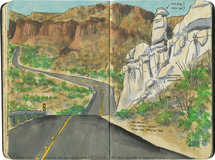 Rio Grande River Road sketch by Chandler O'Leary