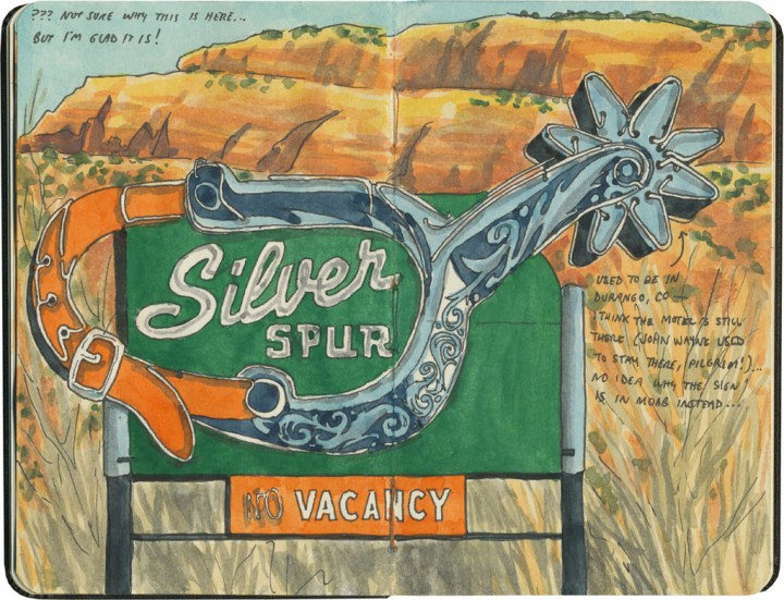 Silver Spur sign sketch by Chandler O'Leary
