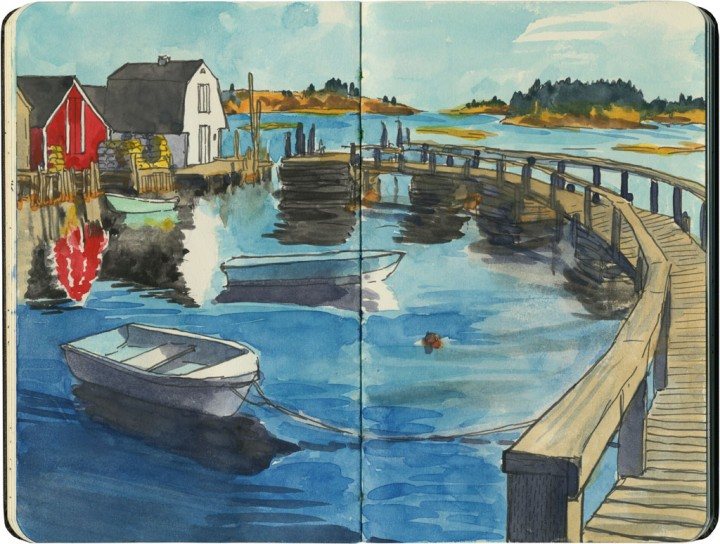 Blue Rocks, Nova Scotia sketch by Chandler O'Leary