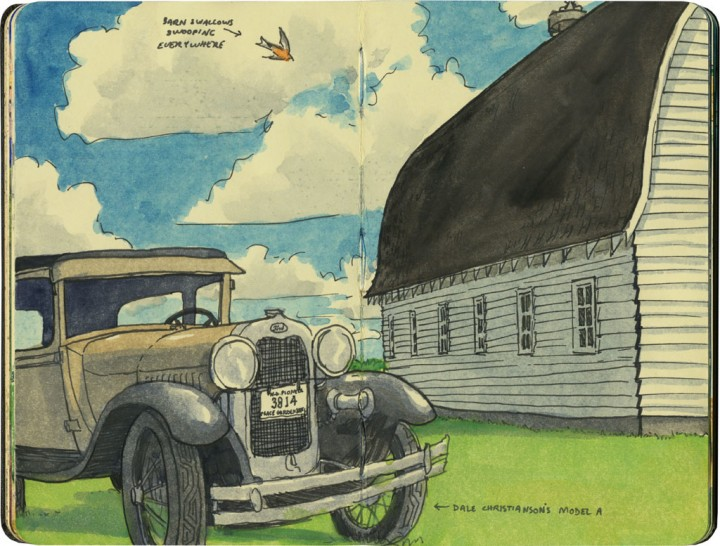 Barn and Model A sketch by Chandler O'Leary
