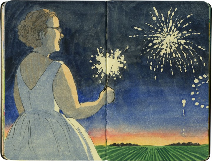 Wedding fireworks sketch by Chandler O'Leary