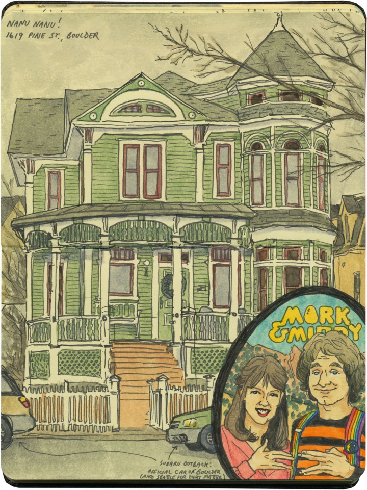 """Mork & Mindy"" house sketch by Chandler O'Leary"