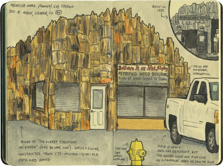 Petrified Wood gas station sketch by Chandler O'Leary