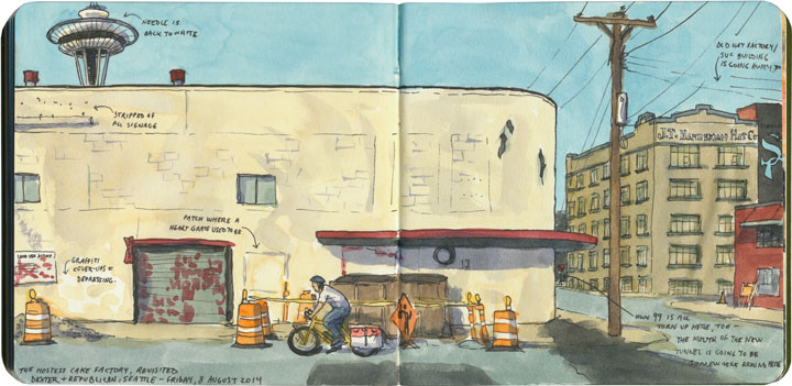 Former Hostess Cake factory sketch by Chandler O'Leary