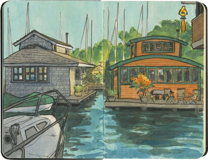Seattle houseboats sketch by Chandler O'Leary