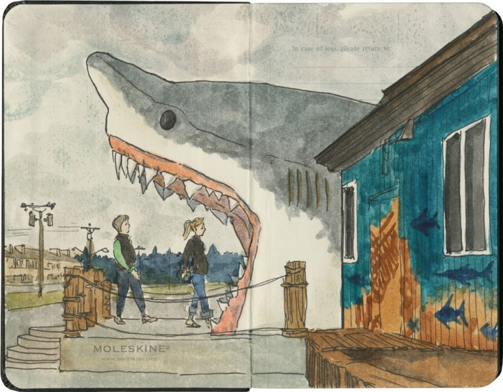 Sharky's Souvenir Shop sketch by Chandler O'Leary