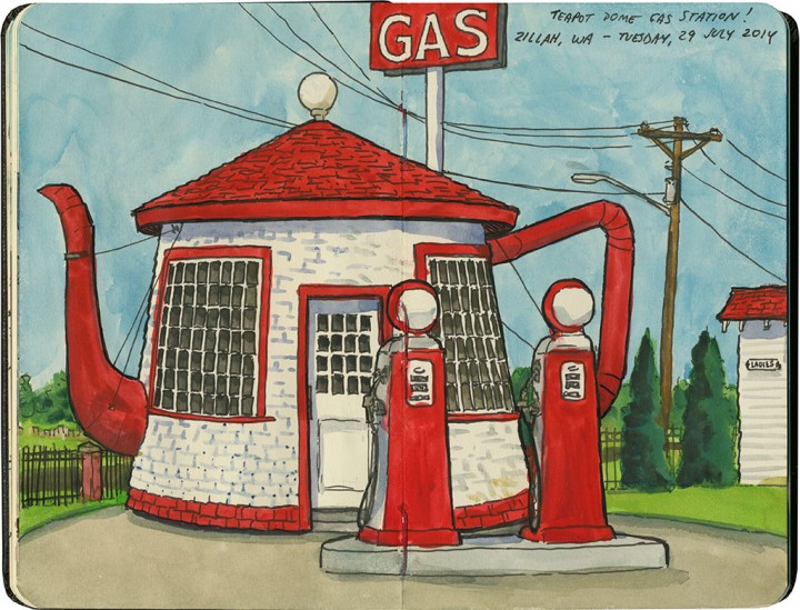 Teapot Dome Gas Station sketch by Chandler O'Leary