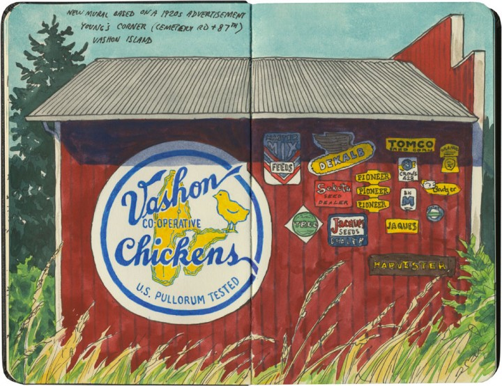 Vashon Island barn sketch by Chandler O'Leary