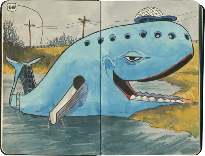 Blue Whale of Catoosa sketch by Chandler O'Leary
