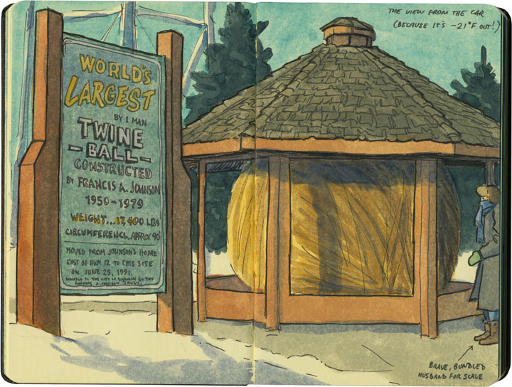 World's Largest Ball of Twine (by One Man) sketch by Chandler O'Leary
