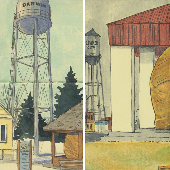World's Largest Ball of Twine sketches by Chandler O'Leary