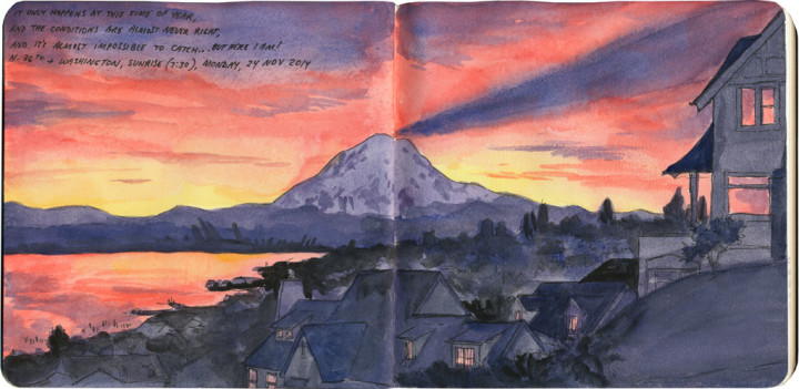 Mt. Rainier sunrise sketch by Chandler O'Leary