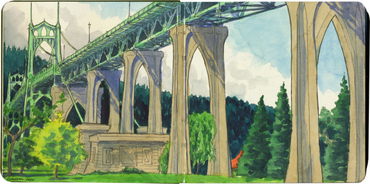 St. Johns Bridge sketch by Chandler O'Leary