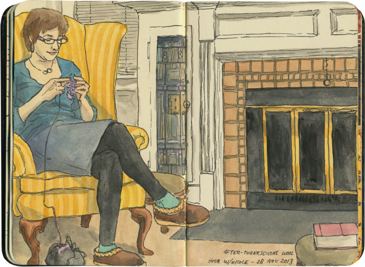 Thanksgiving knitting sketch by Chandler O'Leary