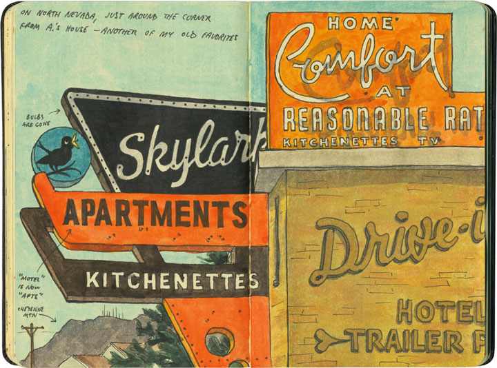 Skylark motel signs sketch by Chandler O'Leary