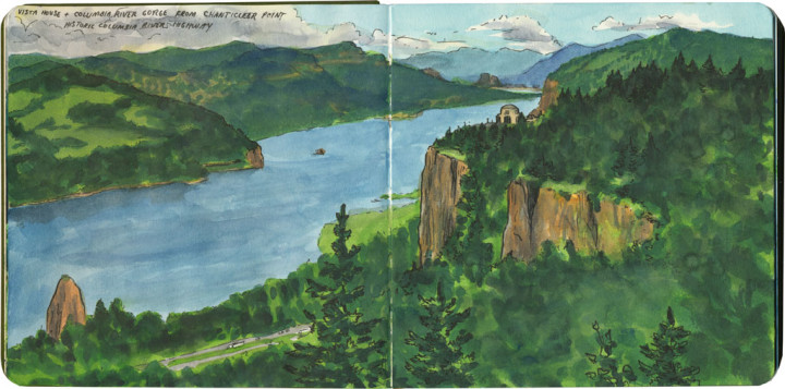 Columbia River Gorge sketch by Chandler O'Leary