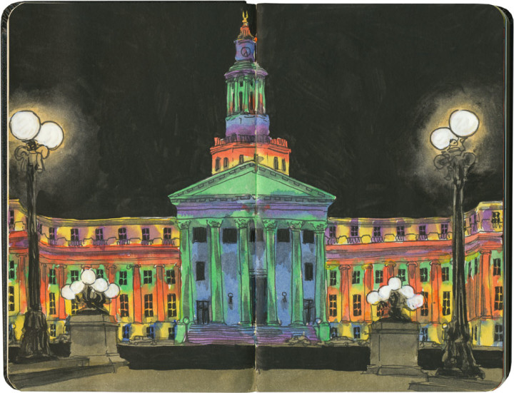 Denver City & County Building sketch by Chandler O'Leary