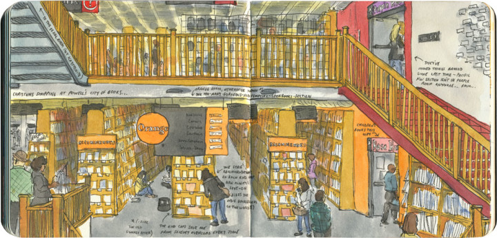 Powell's City of Books sketch by Chandler O'Leary