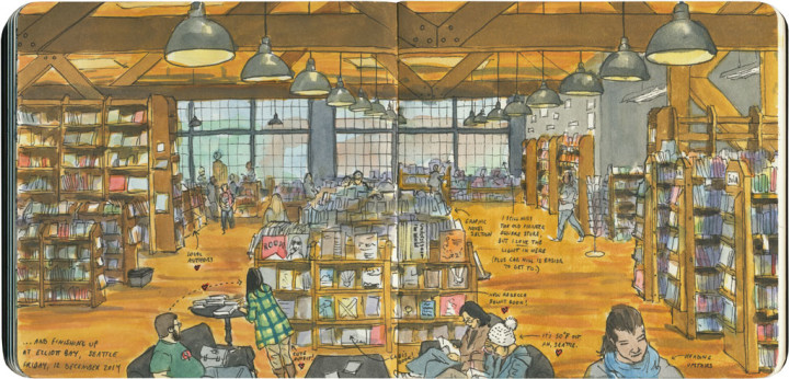 Elliott Bay Book Co. sketch by Chandler O'Leary