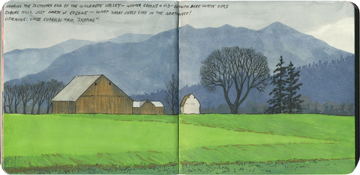 Willamette Valley sketch by Chandler O'Leary