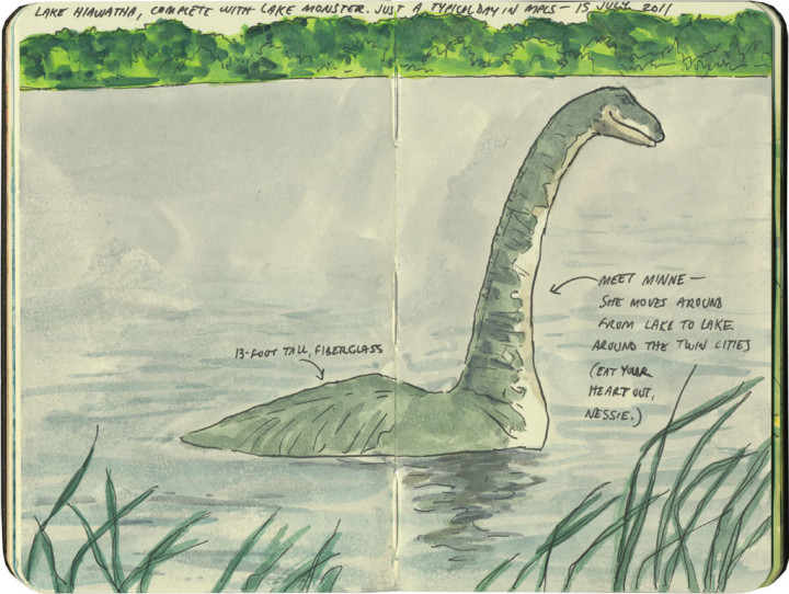 Minne the lake monster sketch by Chandler O'Leary