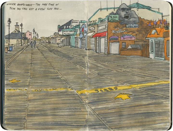 Ocean City boardwalk sketch by Chandler O'Leary