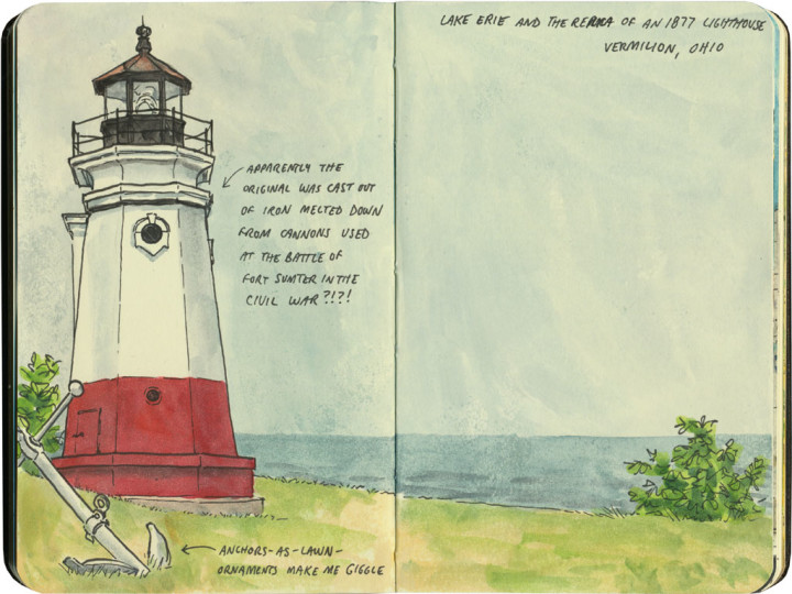 Lake Erie lighthouse sketch by Chandler O'Leary