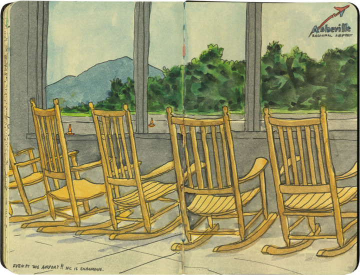 Airport rocking chairs sketch by Chandler O'Leary