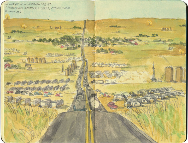 North Dakota oil fields sketch by Chandler O'Leary