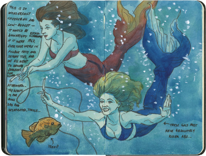 Weeki Wachee mermaids sketch by Chandler O'Leary