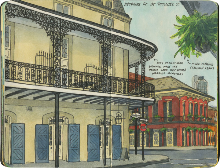 French Quarter, New Orleans sketch by Chandler O'Leary