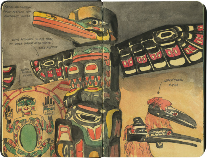 Royal British Columbia Museum First Peoples gallery sketch by Chandler O'Leary