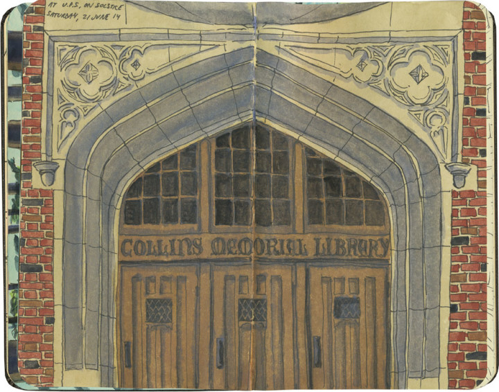 Library doors sketch by Chandler O'Leary