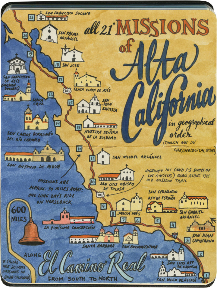 California Missions map sketch by Chandler O'Leary