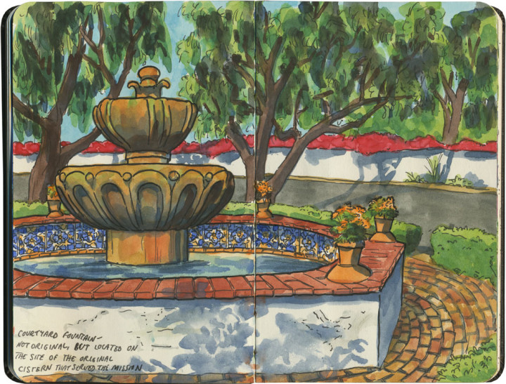 Mission San Diego de Alcala sketch by Chandler O'Leary