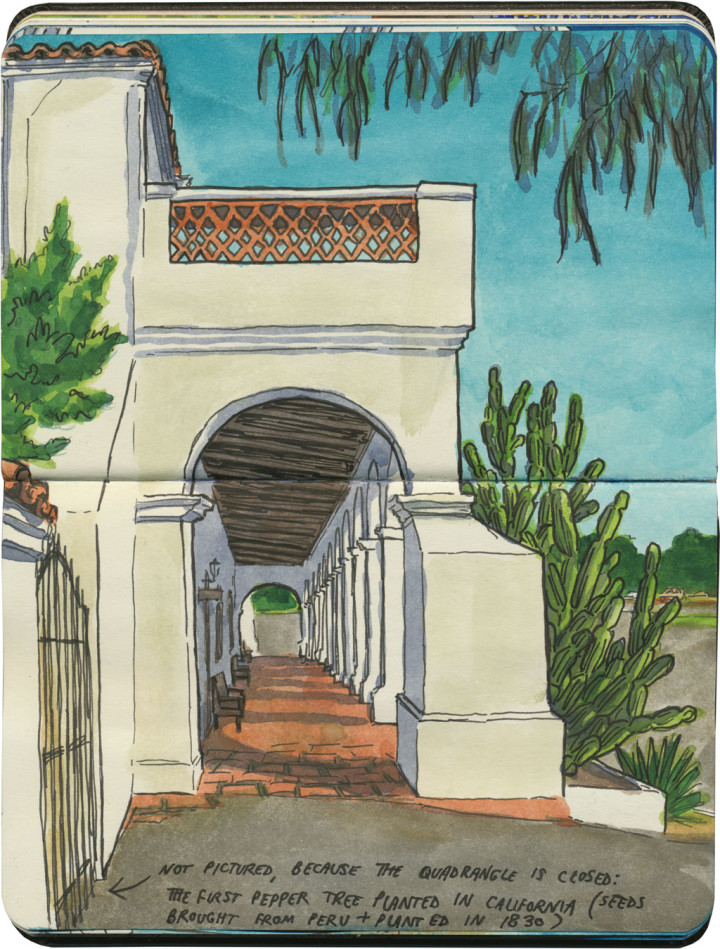 Mission San Luis Rey de Francia sketch by Chandler O'Leary