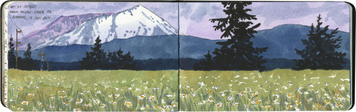 Mount Saint Helens sketch by Chandler O'Leary