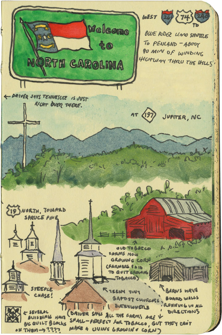 North Carolina steeples sketch by Chandler O'Leary