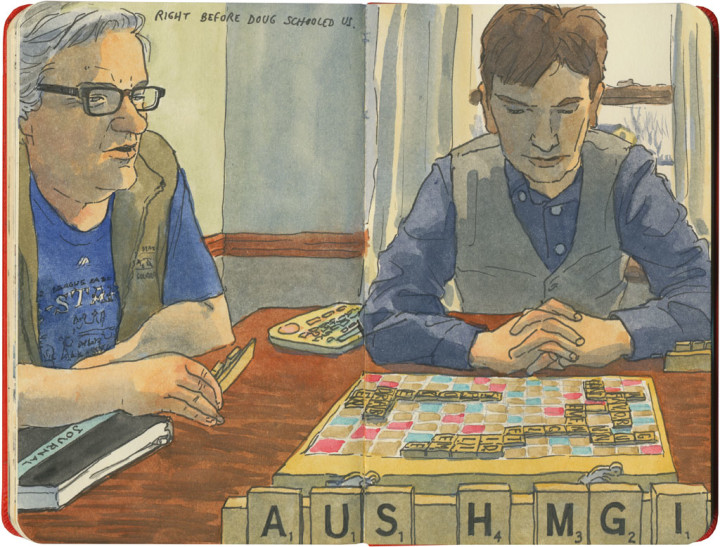 Scrabble game sketch by Chandler O'Leary