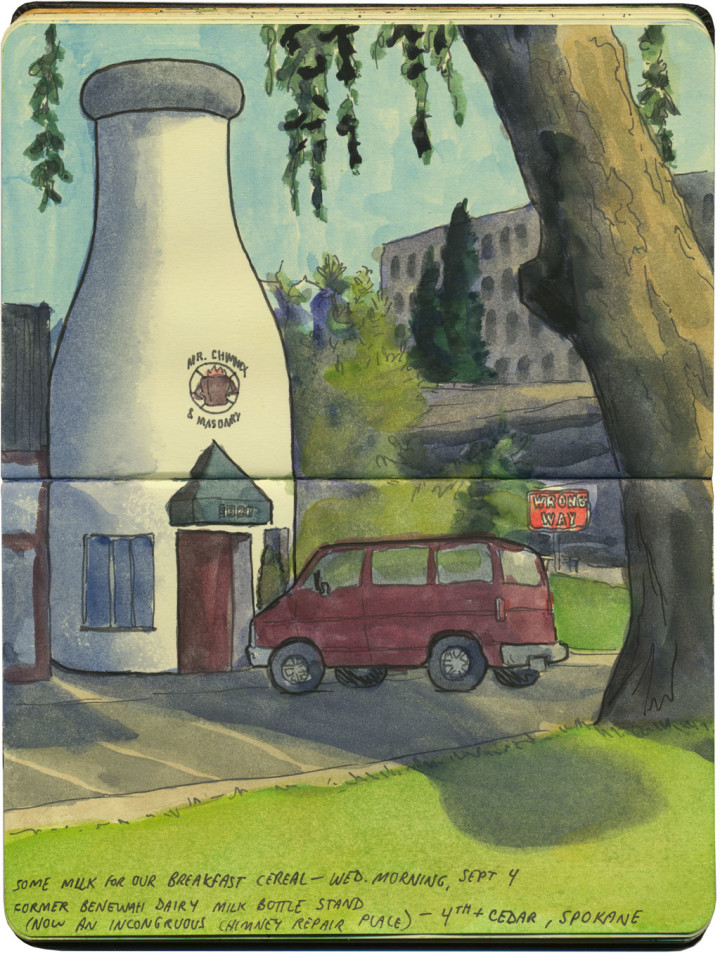 Giant Spokane milk bottle sketch by Chandler O'Leary