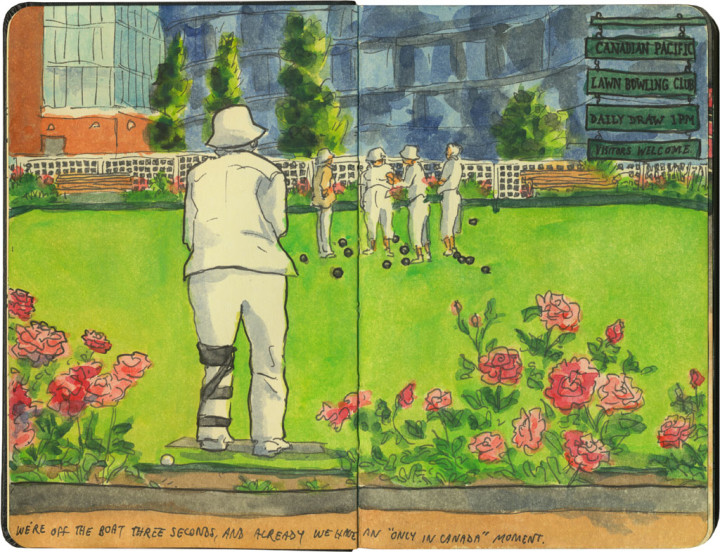 Lawn bowling sketch by Chandler O'Leary