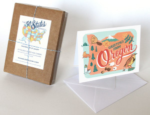 Oregon card from the 50 States series illustrated and hand-lettered by Chandler O'Leary