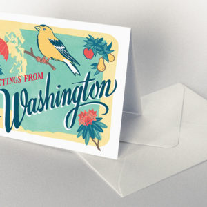 Washington card from the 50 States series illustrated and hand-lettered by Chandler O'Leary